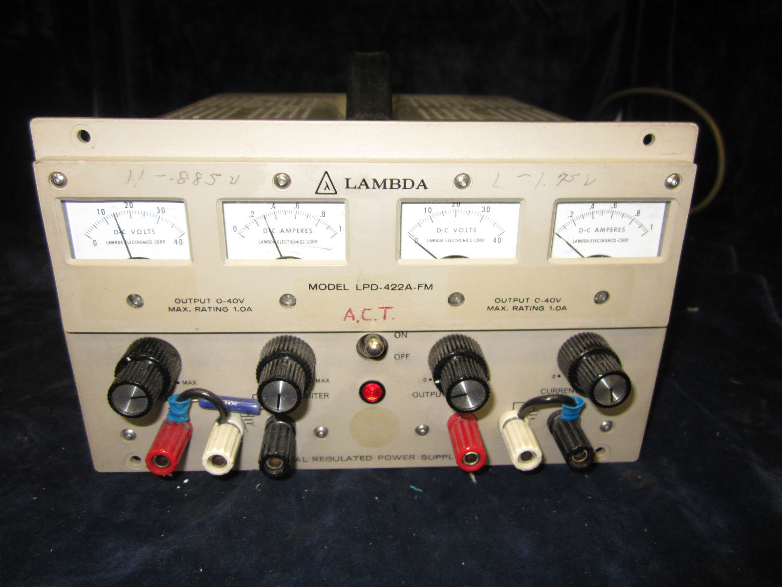 LAMBDA  ELECTRONICS LPD-422A-FM POWER SUPPLY, DUAL, 0-40 V/0-1 A, DC   , REG.